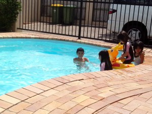 Kids in our very own pool