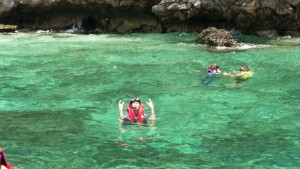 Hubby having fun snorkelling