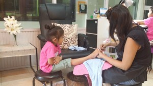 Manicure and pedicure for Daneen