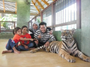 Us with a tiger