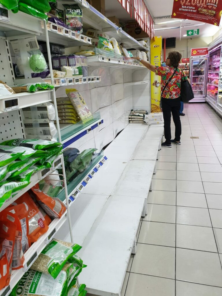 Bags of rice nearly sold out